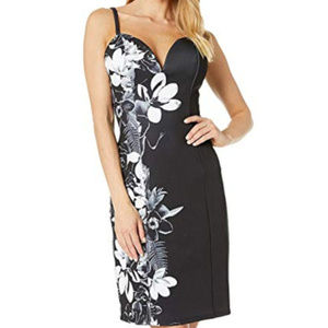 bebe floral black white printed midi dress m